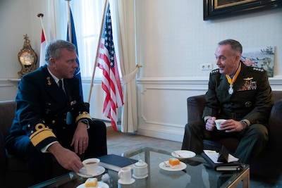 Marine Corps Gen. Joe Dunford, chairman of the Joint Chiefs of Staff, meets with his counterpart Dutch navy Adm. Rob Bauer, the Netherlands' chief of defense, at the Binnenhof in The Hague, Netherlands.
