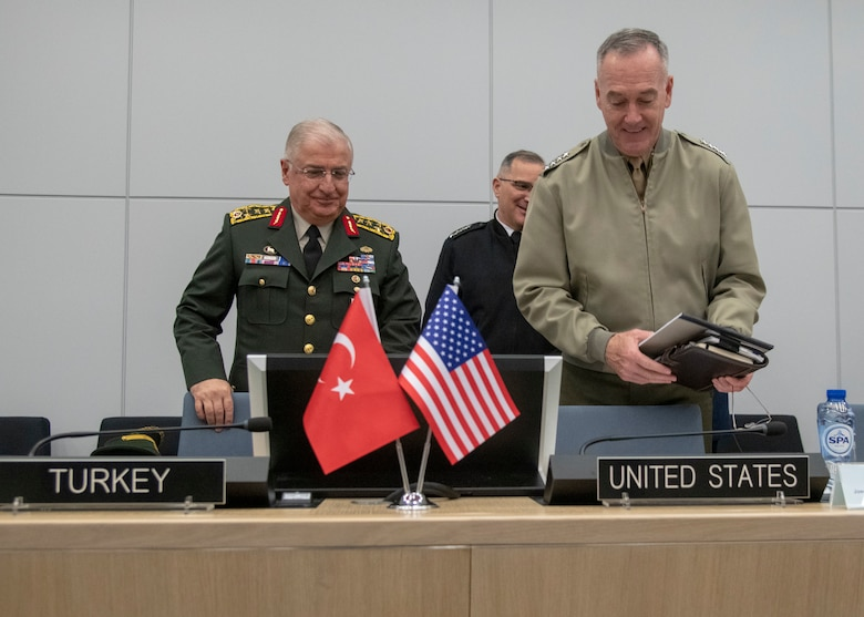 Marine Corps Gen. Joe Dunford, chairman of the Joint Chiefs of Staff, meets with his counterpart Turkish Army Gen. Yasar Güler, Chief of the Turkish General Staff, after the 180th North Atlantic Treaty Organization Military Committee in Chiefs of Defense Session (MC/CS) at NATO headquarters in Brussels, Belgium, Jan. 16, 2019.