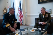 Marine Corps Gen. Joe Dunford, chairman of the Joint Chiefs of Staff, meets with his counterpart Dutch Lt. Adm. Rob Bauer, chief of defense of the Armed Forces of the Netherlands, at the Binnenhof in the Hague, Jan. 18, 2019. (DOD Photo by Navy Petty Officer 1st Class Dominique A. Pineiro)