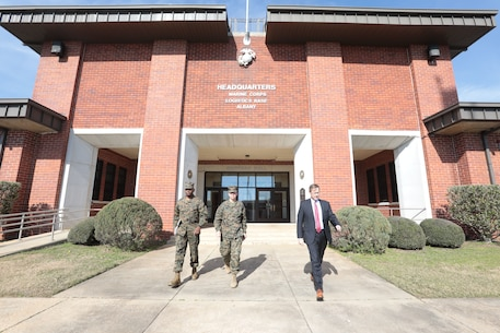 MCLB Albany Commanding Officer Col. Alphonso Trimble welcomes Brig. Gen. Benjamin T. Watson, Commanding General, Marine Corps Installations East - Marine Corps Base Camp Lejeune, Sgt. Maj. Charles Metzger and his senior staff to the installation, Jan. 17. Watson recently assumed command of MCIEAST. Trimble along with several of his senior staff gave a tour of the base highlighting the critical missions and its tenant commands.  (U.S. Marine Corps photo by Re-Essa Buckels)