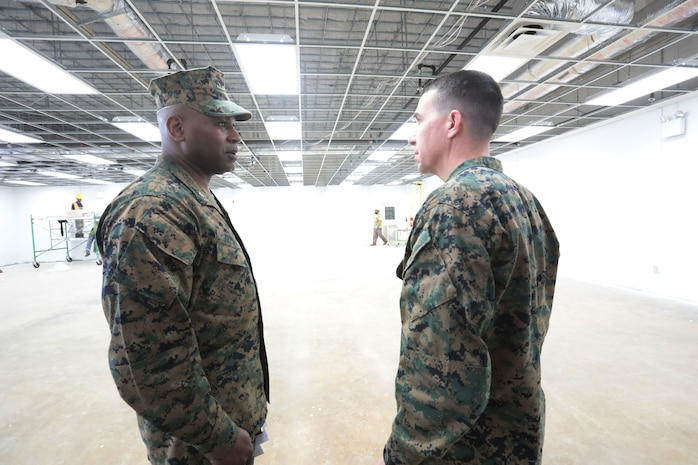 MCLB Albany Commanding Officer Col. Alphonso Trimble welcomes Marine Corps Installations East Commanding General Brig. Gen. Benjamin Watson, Sgt. Maj. Charles Metzger and his senior staff to the installation, Jan. 17. Watson recently assumed command of MCIEAST. Trimble along with several of his senior staff gave a tour of the base highlighting the critical missions and its tenant commands.  (U.S. Marine Corps photo by Re-Essa Buckels)