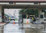 Construction workers cut through concrete at Joint Base San Antonio-Randolph's main gate Jan. 18, 2019, JBSA-Randolph, Texas. The Lindsey gate closed January 7 and is expected to be closed for approximately 70 days.