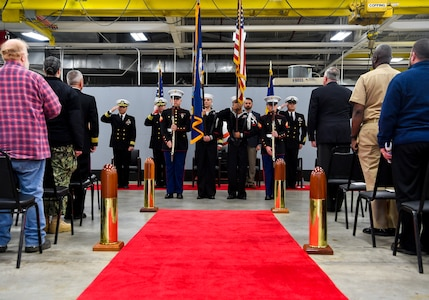 Members of the Joint Base Charleston Naval Support Activity honor guard present the colors at the Navy Munitions Command Atlantic Unit Charleston change of command Jan. 16, 2018, at Joint Base Charleston, S.C.