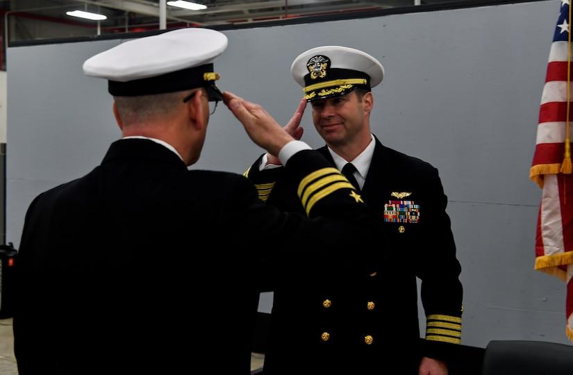 Cmdr. William Edenbeck, Navy Munitions Command Atlantic Unit Charleston commanding officer, assumes command of NMC Jan. 16, 2018, at Joint Base Charleston, S.C.