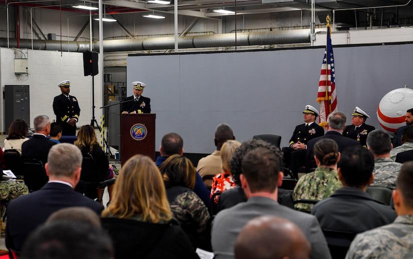 Cmdr. William Edenbeck, Navy Munitions Command Atlantic Unit Charleston commanding officer, gives a speech after assuming command of NMC Jan. 16, 2018, at Joint Base Charleston, S.C.