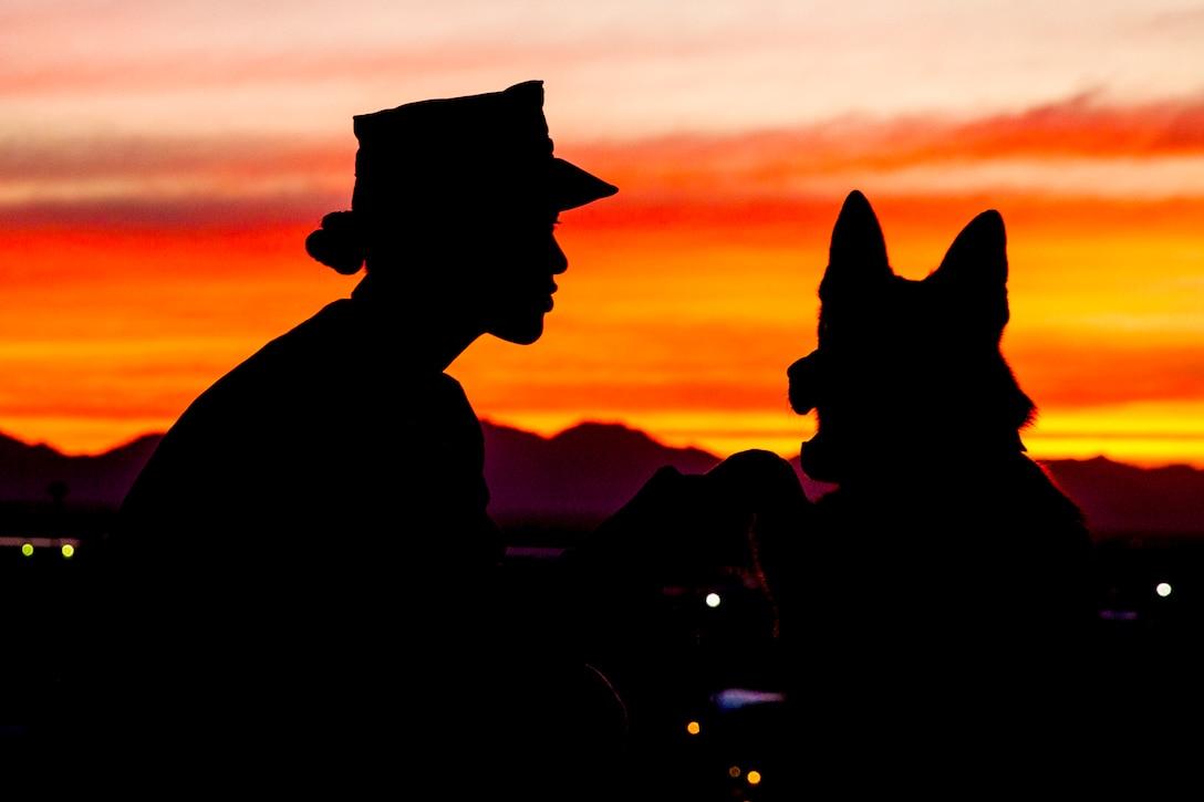 A Marine kneels next to a dog.
