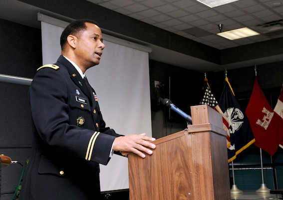 U.S. Army Corps of Engineers Chaplain (Col.) Raymond Robinson speaks during Huntsville Center's Martin Luther King Jr. Day observance and celebration Jan. 17, 2019.