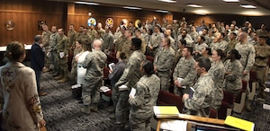 Travis Air Force Base Airmen attend a leadership class, the best just got better, taught by Jodi and Jason Womack Jan. 10, 2019, at Travis Air Force Base, Calif. Jason and Jodi have visited 39 countries on their voyage to help leaders become stronger. Their next commitment will be in Alabama, where Jason will be a professor of leadership studies at the Air University at Maxwel Air Force Base. (U.S. Air Force photo by Airman 1st Class Jonathon Carnell)
