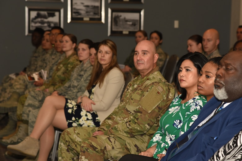 Goodfellow Air Force Base and special guests actively listen to a speech during the Dr. Martin Luther King Junior Day luncheon, at the Event Center on Goodfellow Air Force Base, Texas, Jan. 17, 2019. The guest speaker of the event was U.S. Air Force Chief Master Sgt. Lavor Kirkpatrick, 17th Training Wing command chief. (U.S. Air Force Photo by Airman 1st Class Abbey Rieves/Released)