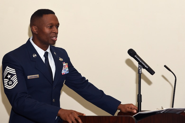 US. Air Force Chief Master Sgt. Lavor Kirkpatrick, 17th Training Wing command chief, speaks to Goodfellow Air Force Base and special guests during the Dr. Martin Luther King Junior Day luncheon, at the Event Center on Goodfellow Air Force Base, Texas, Jan. 17, 2019.  Kirkpatrick was the guest speaker for the Dr. Martin Luther King Junior Day luncheon.  (U.S. Air Force Photo by Airman 1st Class Abbey Rieves/Released)