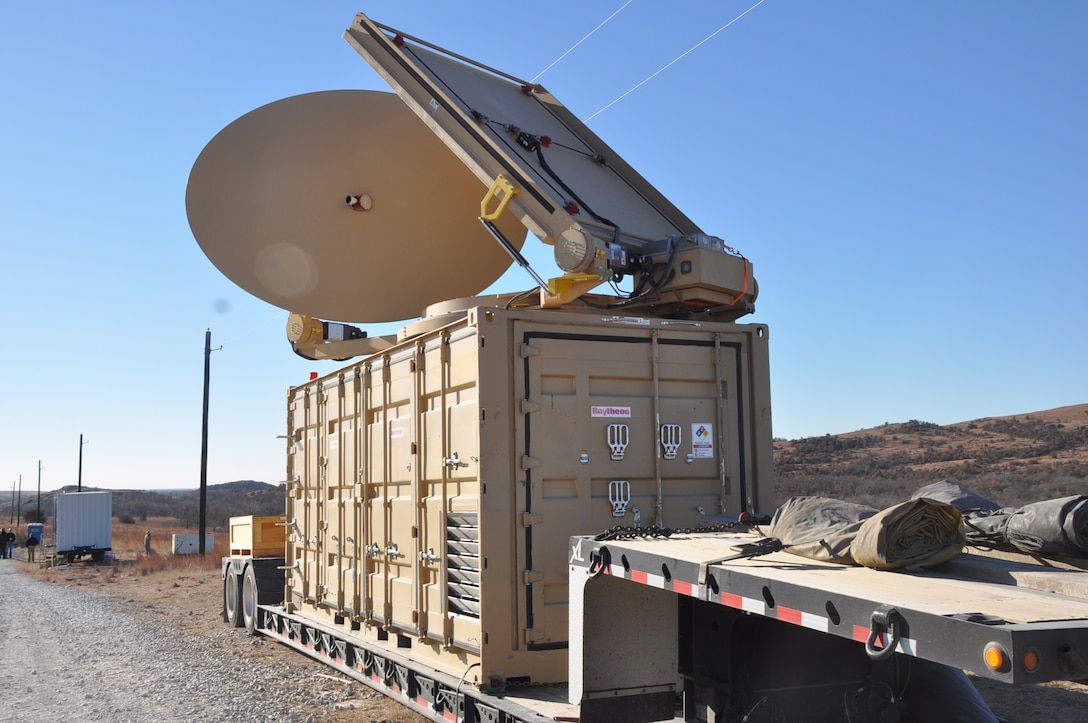 The directed energy system emits an adjustable energy beam that, when aimed at airborne targets such as drones, renders them unable to fly. During the October 2018 experimentation event at White Sands Missile Range, New Mexico, this system used high power microwave to disrupt and destroy small unmanned aerial systems. The 704th Test Group Directed Energy Combined Test Force supported the event as part of the Directed Energy Experimentation Campaign. (U.S. Army photo by Monica K. Guthrie)