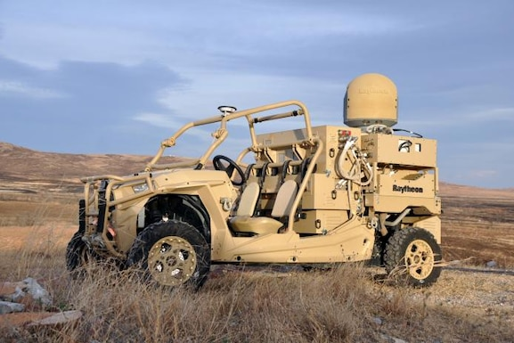 This is the Raytheon laser dune buggy, a solid-state laser combined with an advanced variant of the company's Multi-Spectral Targeting System of sensors, installed on a small, all-terrain Polaris militarized vehicle. Coupled with a generator, the HEL weapon system provides military members with counter-UAV capabilities and a virtually unlimited magazine. The Raytheon High Energy Laser Weapon System as mounted on a light tactical vehicle was one of two Directed Energy systems that participated at the October 2018 experimentation event at White Sands Missile Range, New Mexico. The event was held as part of the Directed Energy Experimentation Campaign, which is headed by the 704th Test Group DE Combined Test Force. (U.S. Army photo by Monica K. Guthrie)