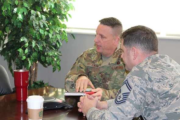 Chief Master Sgt. Robert Heckman, AEDC Superintendent, speaks to a group of senior non-commissioned officers in his office at Arnold Air Force Base during a meeting Jan. 10. (U.S. Air Force photo by Deidre Ortiz)