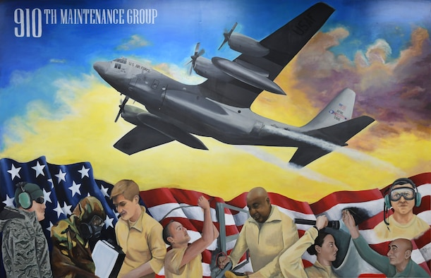 A mural painted by Tech. Sgt. Marlene Scarpino,  an aircraft maintenance specialist assigned to the 910th Maintenance Squadron, portrays the 910th Maintenance Squadron's role in the success of the wing's C-130 flying missions.