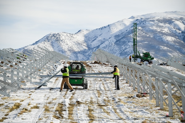 Crews work on installing the rack system for a new solar array at Hill Air Force Base, Utah, Dec. 12, 2018.