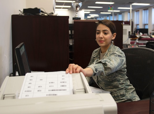 U.S. Air Force Senior Airman Ivonne Munoz, 55th Comptroller Squadron finance technician, demonstrates using EPHESOFT software Jan. 17, 2019, at Offutt Air Force Base, Nebraska. Using the software, travel vouchers are now transmitted within minutes to Air Force Financial Services Center at Ellsworth Air Force Base, South Dakota, instead of hours. (U.S. Air Force photo by L. Cunningham)