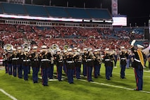 Marines with the Parris Island Marine Band perform during the pre-game show of the TaxSlayer Gator Bowl, Dec. 31, 2018, at TIAA Bank Field in Jacksonville, Florida. The band played before the fans of Texas A&M University and North Carolina State University. (U.S. Marine Corps Photo by Cpl. Mike Hernandez)