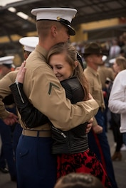 A Marine with Delta Company, 1st Recruit Training Battalion, reunites with a loved one after graduating from recruit training at Marine Corps Recruit Depot San Diego, Jan. 11, 2019.