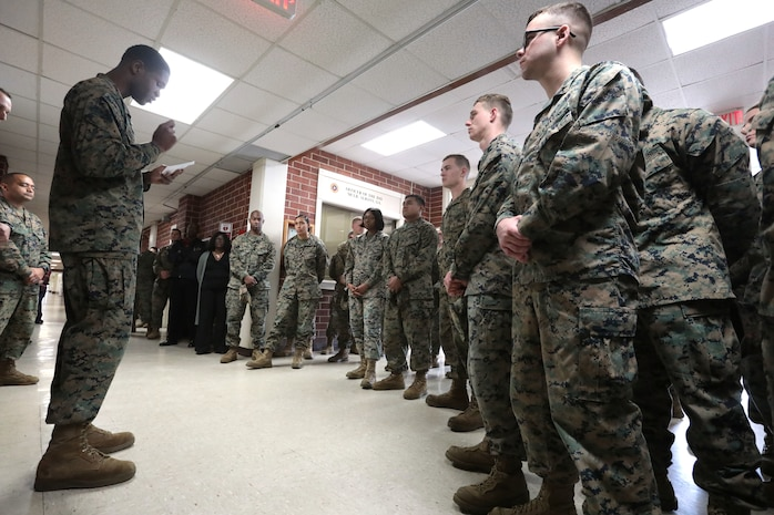 """Marines of MCLB Albany received a safety brief, and also commemorated Dr. Martin Luther King Jr. ahead of the holiday. Dozens of Marines paid tribute by reading the """"I Have a Dream"""" speech, Jan. 18. (U.S. Marine Corps photo by Re-Essa Buckels)"""