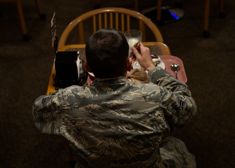 A patron of Thunderbird Inn eats his lunch at Kirtland Air Force Base, N.M., Jan. 22, 2019. The western region winner of the Hennessy Award is expected to be announced in late March or early April. (U.S. Air Force photo by Airman 1st Class Austin J. Prisbrey)