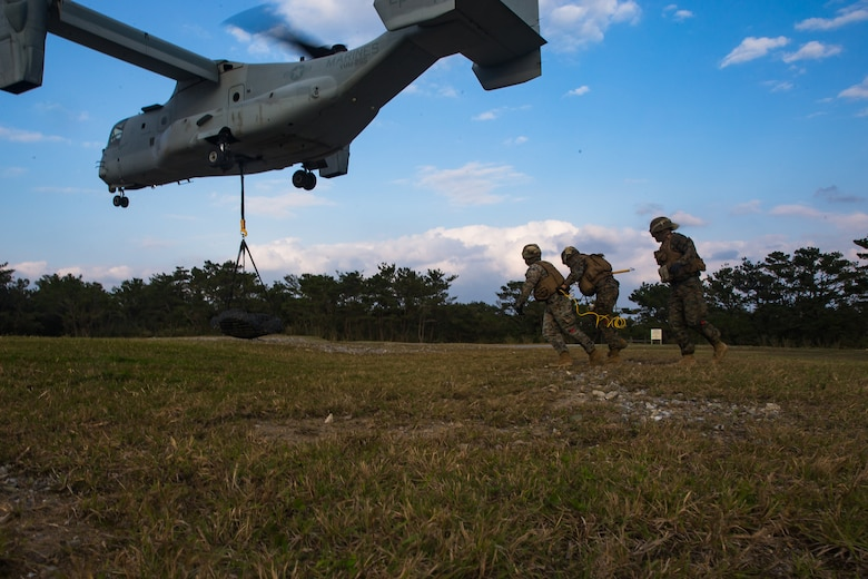 Landing support specialists retreat from an MV-22B Osprey during helicopter support team training at Camp Hansen, Okinawa, Japan, Jan. 14, 2019. Landing Support Company, 3rd Transportation Support Battalion, Combat Logistics Regiment 3, 3rd Marine Logistics Group supported Marine Medium Tiltrotor Squadron 265, Marine Aircraft Group 36, 1st Marine Aircraft Wing during external lift training, which provides valuable flight training hours for pilots as well as field training for LS Co. Marines. (U.S. Marine Corps Photo by Cpl. André T. Peterson Jr.)