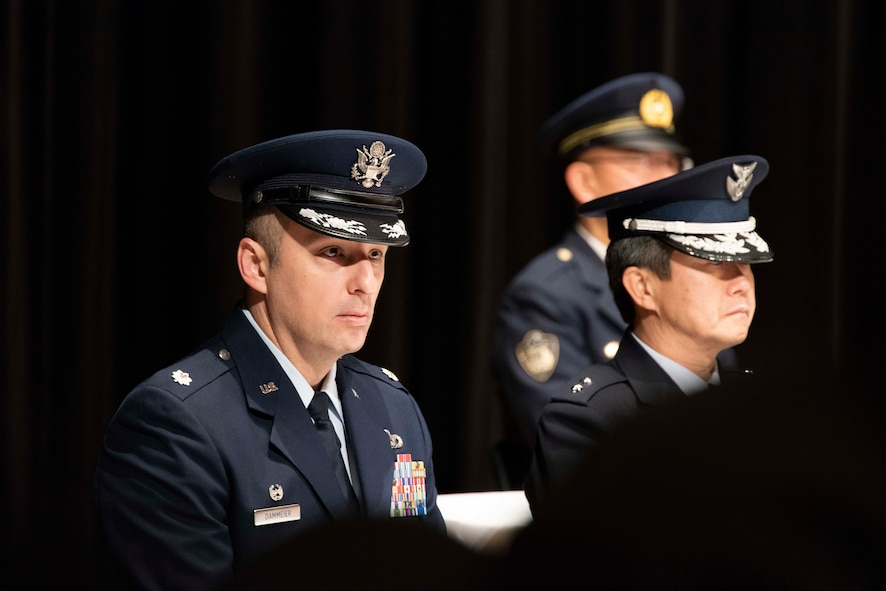 U.S. Air Force Lt. Col. David Dammeier, the 35th Civil Engineer Squadron commander, listens to a speech during the annual Misawa City Fire Department New Year ceremony at Misawa City, Japan, Jan. 20, 2019. Dammeier thanked the Misawa City communities for their continued support and wished the more than 300 firefighters and volunteers a safe year. (U.S. Air Force photo by Senior Airman Sadie Colbert)