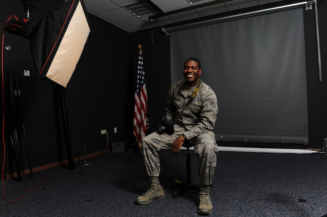 Airman 1st Class Octavius Thompson, 39th Air Base Wing photojournalist, poses for a photo at Incirlik Air Base Turkey, Jan. 17, 2019. Thompson appreciated the opportunities his first assignment afforded him and the teammates who helped him grow as an Airman. (U.S. Air Force photo by Senior Airman Kirby Turbak)