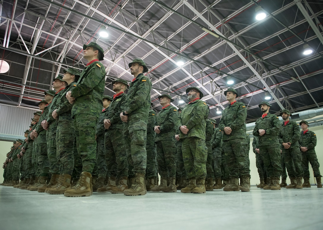 Members from the Spanish Patriot Unit stand in formation during their unit's change of command ceremony, at Incirlik Air Base, Turkey, Jan. 16, 2019.