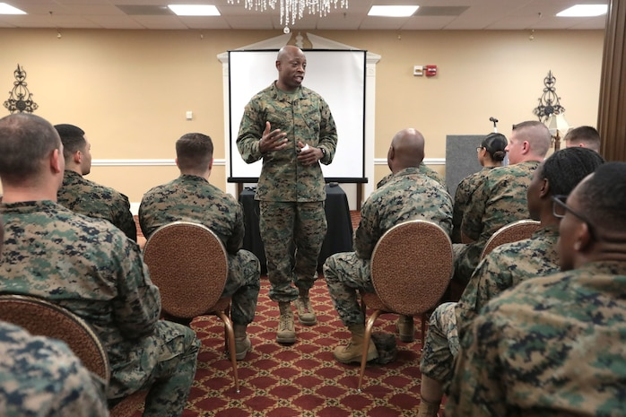 Marine Corps Logistics Base Albany Base Sgt. Maj. Johnny Higdon held a special duty assignment professional military education workshop, Jan. 18. The workshop educates Marines on career opportunities for future progression in the Marine Corps. (U.S. Marine Corps photo by Re-Essa Buckels)