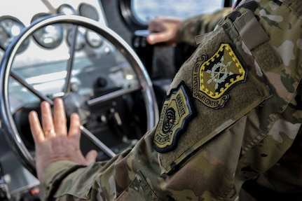 Maj. Gen. John Gordy, U.S. Air Force Expeditionary Center commander, drives a 27-foot SeaArk harbor security patrol boat Jan. 17, 2019, at Joint Base Charleston, S.C.