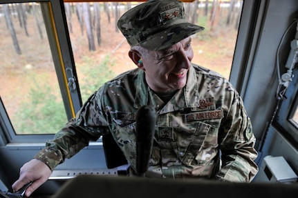 Maj. Gen. John Gordy, U.S. Air Force Expeditionary Center commander, operates a train Jan. 17, 2019, at Joint Base Charleston, S.C.
