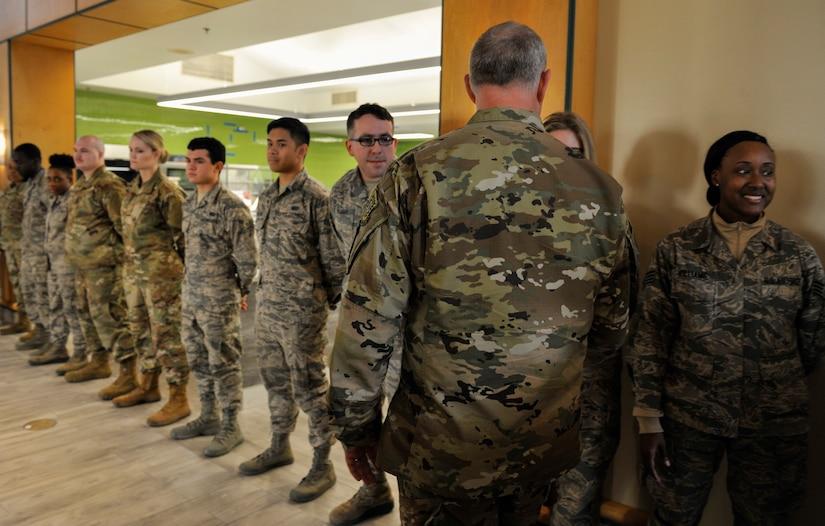 Maj. Gen. John Gordy, U.S. Air Force Expeditionary Center commander, greets Airmen Jan. 18, 2019, at Joint Base Charleston, S.C.