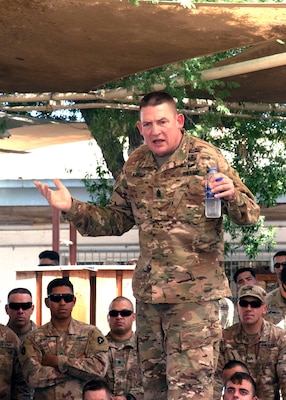 U.S. Army Command Sgt. Maj. Christopher Kepner, the command sergeant major of the National Guard Bureau, speaks to National Guard members deployed to Combined Joint Task Force-Horn of Africa (CJTF-HOA) from the 1-141st Infantry Regiment, Task Force Alamo, Texas National Guard, Jan. 18, 2019, at Camp Lemonnier, Djibouti. Of the nearly 2,000 service members assigned to CJTF-HOA, 43 percent of them are National Guard members.