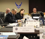 Rich Aldridge (center), program executive officer for Air Force Program Executive Office-Business and Enterprise Systems, hosted a PEO Cross-Service Summit at Maxwell Air Force Base-Gunter Annex, Alabama, Jan. 16, 2019. The summit brings together PEOs from across several DOD agencies to discuss and share lessons learned and common challenges and identify best practices to support their related organizational missions and joint ventures. The summits are held quarterly and the locations rotate amongst the agencies. (Courtesy photo)