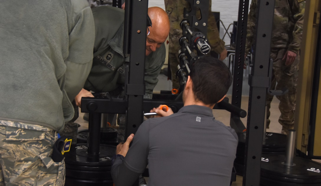 Westover Airmen get a first look at a newly purchased mobile fitness unit.