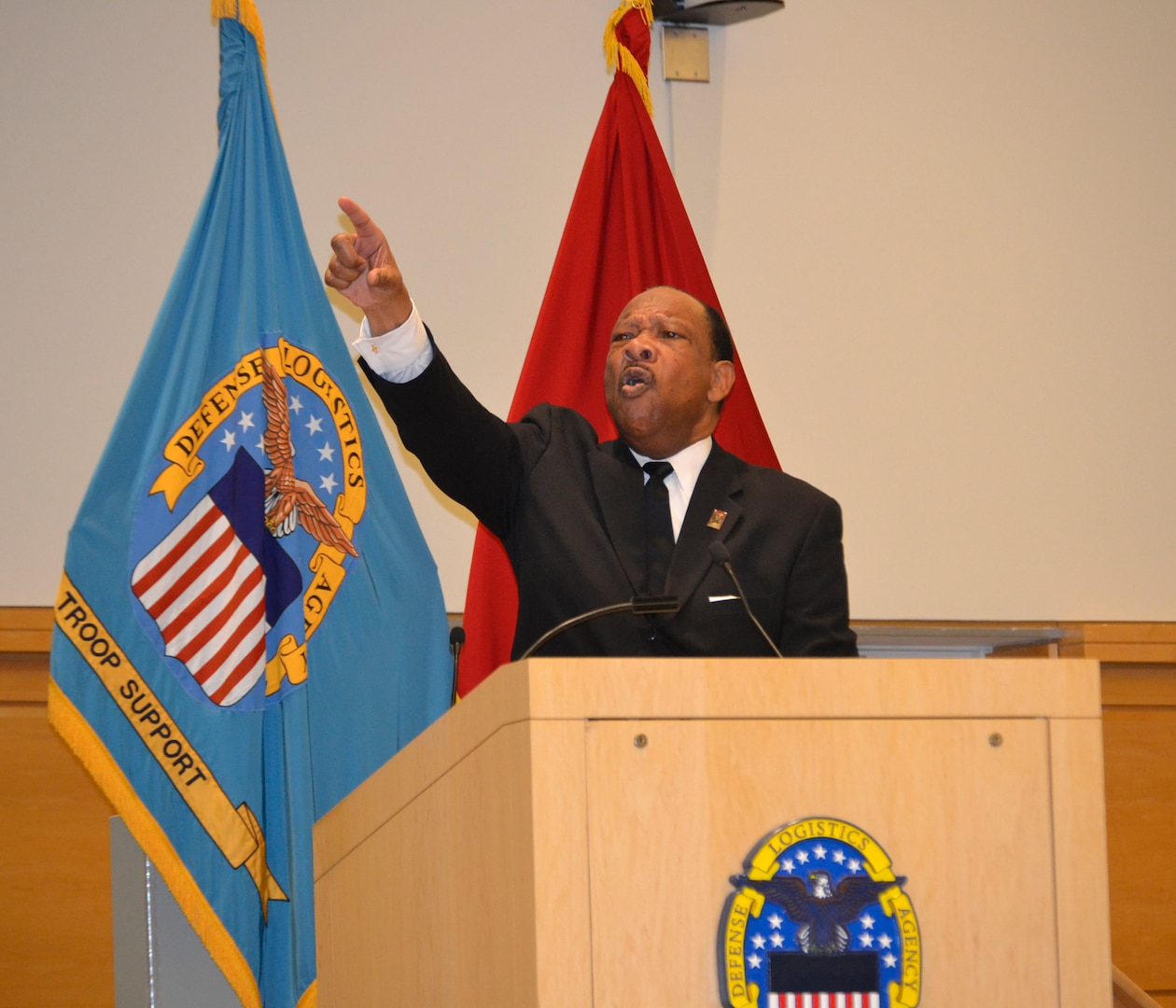 """Jim Lucas recites the """"I Have A Dream"""" speech during the DLA Troop Support and the NAVSUP Weapons Systems Support's annual Dr. Martin Luther King, Jr. birthday observance program Jan. 23 in Philadelphia. Lucas has received acclaim across the nation for his dramatizations depicting the life and times of Dr. Martin Luther King, Jr."""