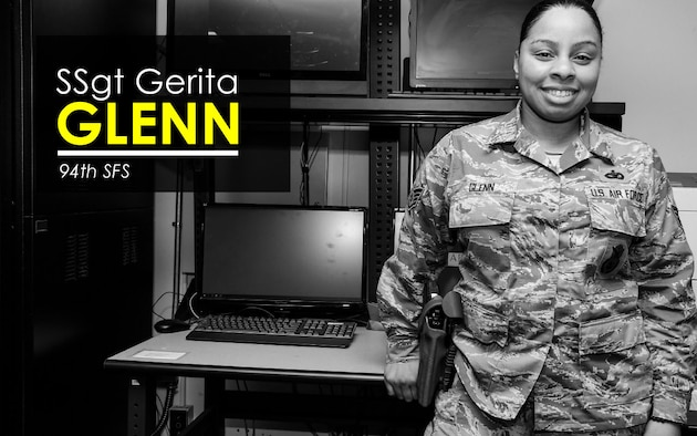 This week's Up Close features Staff Sgt. Gerita Glenn, 94th Security Forces Squadron base defense operations controller. Up Close is a series spotlighting individuals around Dobbins Air Reserve Base. (U.S. Air Force graphic/Staff Sgt. Andrew Park)
