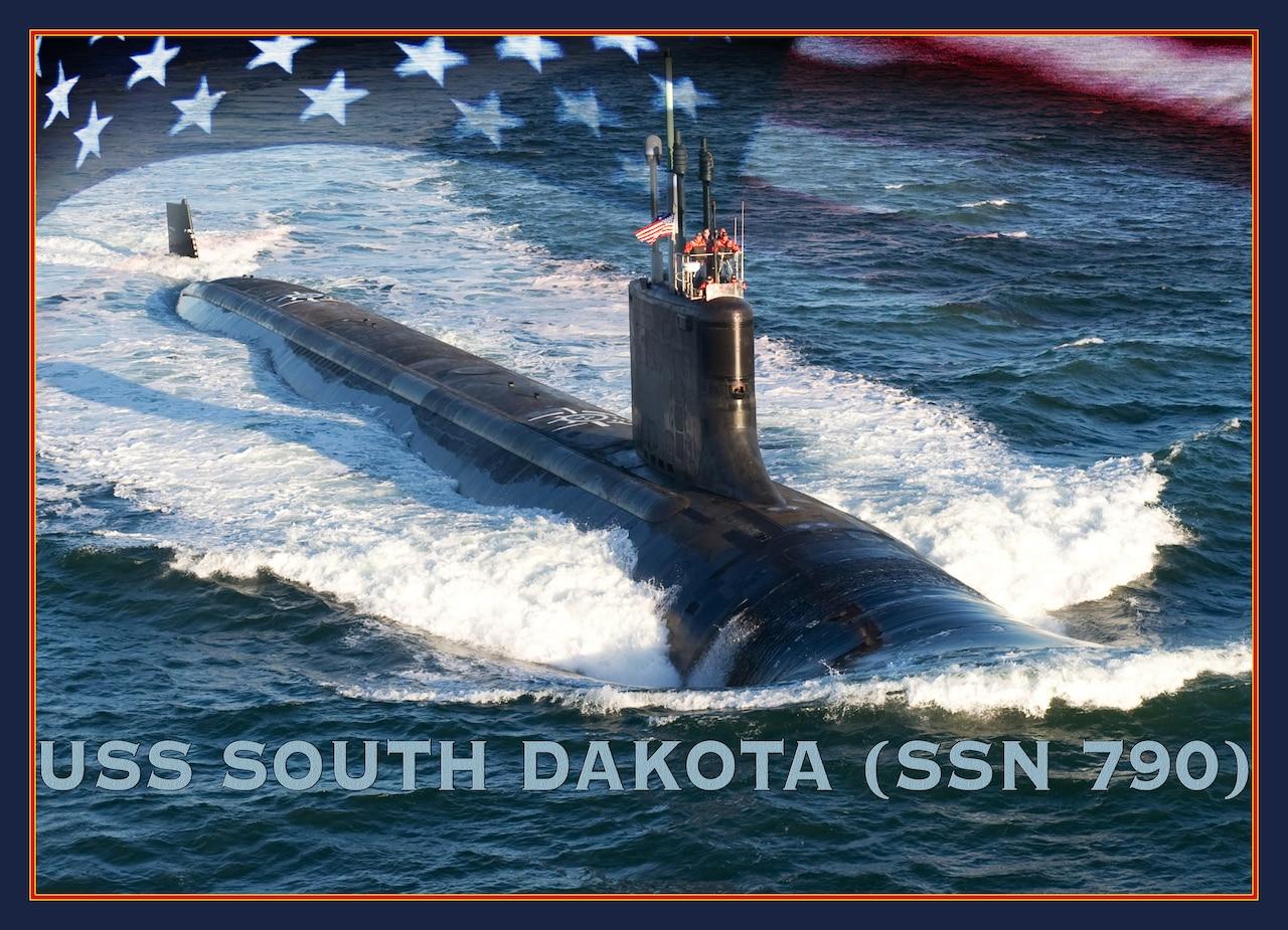 An artist rendering of the Virginia-class submarine USS South Dakota.