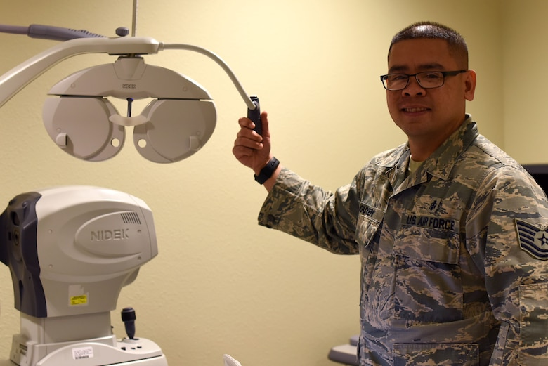 U.S. Air Force Tech Sgt. Vhin Nguyen, 17th Medical Operations Squadron medical services flight chief, shows the type of equipment used in the optometry clinic on Goodfellow Air Force Base, Texas, Jan. 23, 2019. Nguyen is the featured spotlight highlighting Airmen on Goodfellow and the different ways that they contribute to the 17th Training Wing and the base. (U.S. Air Force photo by Senior Airman Seraiah Hines/Released)