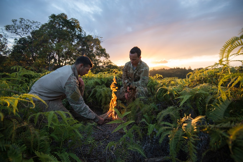 Senior Airmen conduct survival training at U.S. Army's Jungle Operations Training Course in Hawaii, March 7, 2017 (U.S. Air National Guard/Christopher S. Muncy)