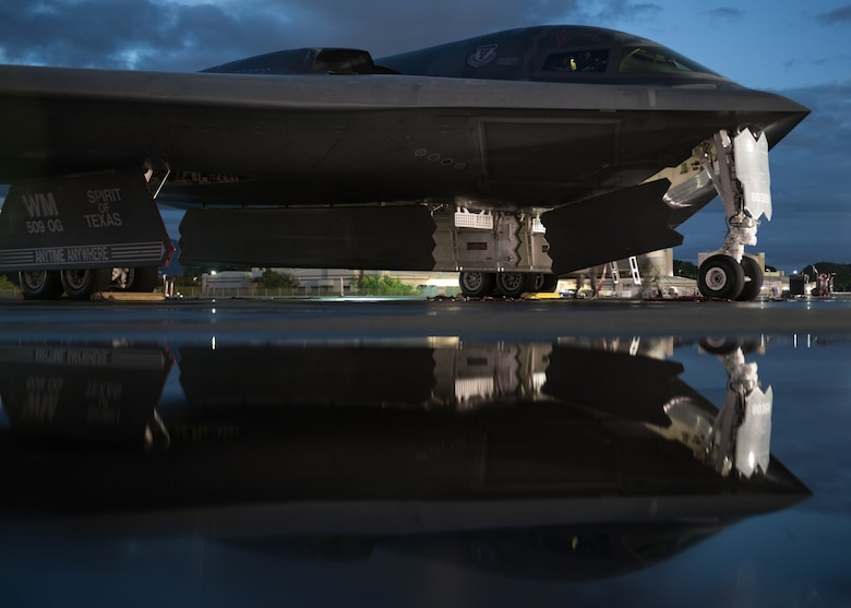 A B-2 Spirit bomber deployed from Whiteman Air Force Base, Missouri, is prepped for a training mission, at Joint Base Pearl Harbor-Hickam, Hawaii, Jan. 17, 2019.