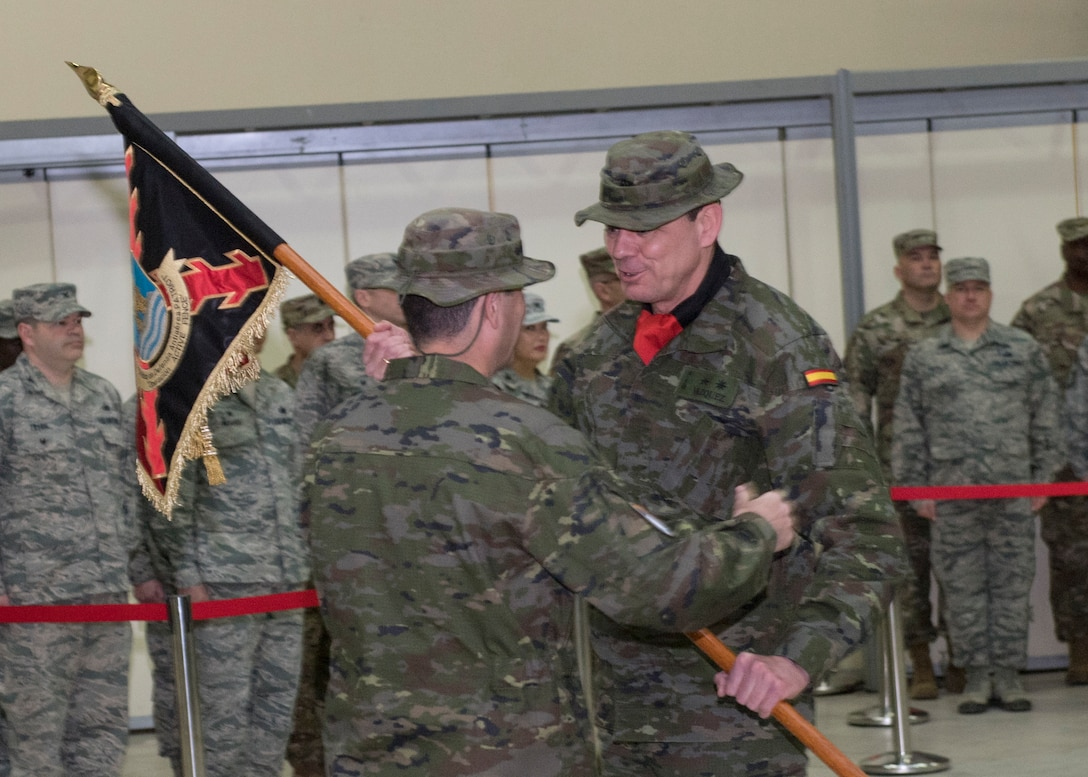 Spanish army Lt. Col. Javier Vazquez Hermoso takes command of the Spanish Patriot Unit during a change of command ceremony, at Incirlik Air Base, Turkey, Jan. 16, 2019.