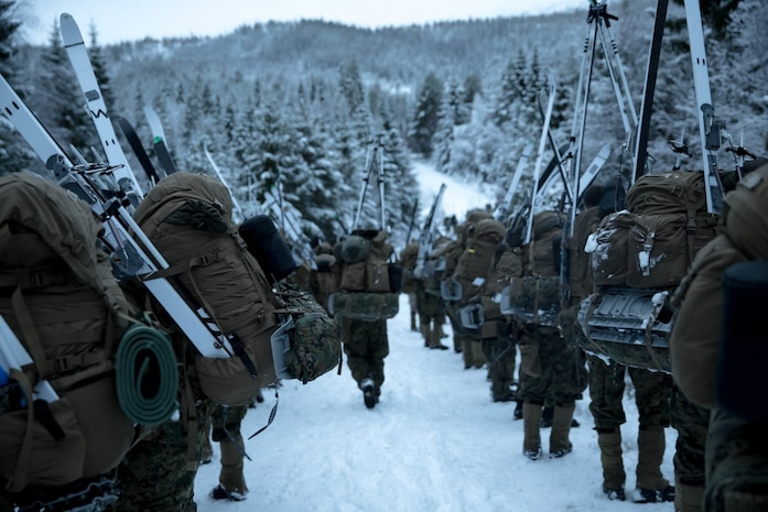 U.S. Marines with Marine Rotational Force-Europe (MRF-E) 19.1 hike during Exercise Winter Warrior in Haltdalen, Norway, Dec. 3, 2018. The three-week exercise tested the Marines' abilities to adapt to harsh weather conditions, move across long distances in the snow and push themselves to complete the mission despite austere situations. (U.S. Marine Corps photo by Cpl. Elijah Abernathy/Released)