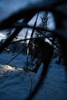 A U.S. Marine with Marine Rotational Force-Europe (MRF-E) 19.1 sets up an AN/152 Field Radio Exercise Winter Warrior in Haltdalen, Norway, Dec. 2, 2018. The three-week exercise tested the Marines' abilities to adapt to harsh weather conditions, move across long distances in the snow and push themselves to complete the mission despite austere situations. (U.S. Marine Corps photo by Cpl. Elijah Abernathy/Released)