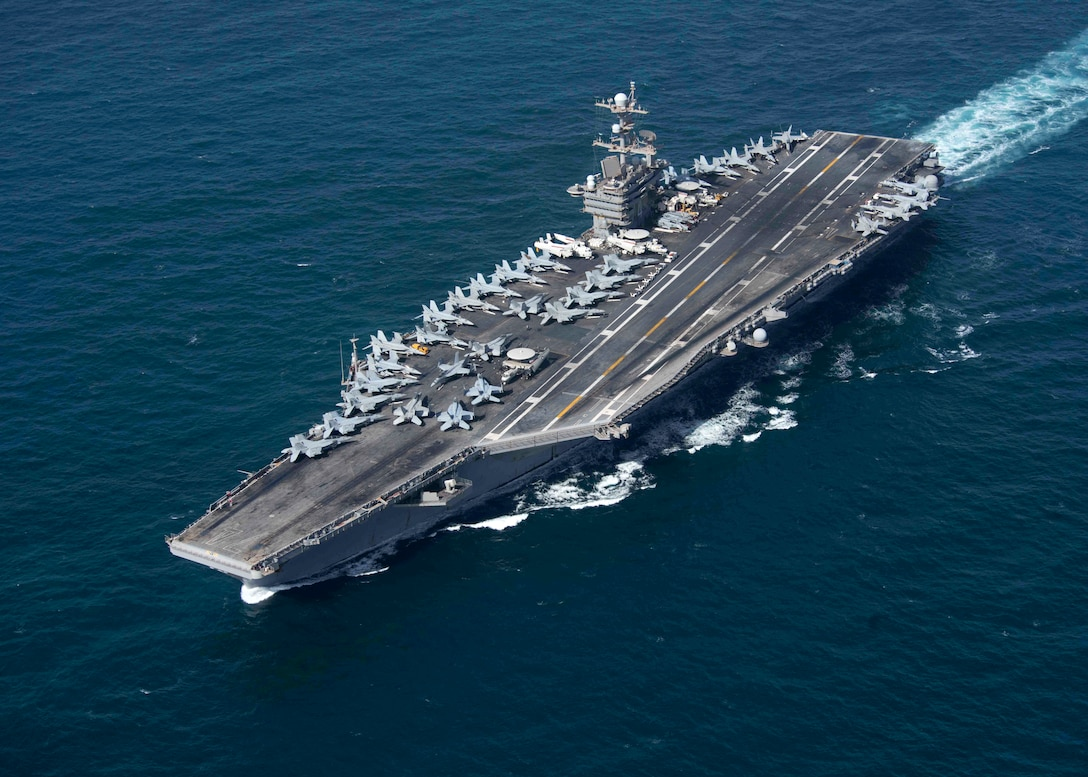 STRAIT OF HORMUZ (Jan. 20, 2019) The aircraft carrier USS John C. Stennis (CVN 74) transits the Strait of Hormuz, while deployed in the U.S. 5th Fleet area of operations.  The Stennis Carrier Strike Group (CSG) is supporting naval operations to ensure maritime stability and security in the Central Region, connecting the Mediterranean and the Pacific through the western Indian Ocean and three strategic choke points. (U.S. Navy photo by Mass Communication Specialist 2nd Class Joseph Miller/Released)
