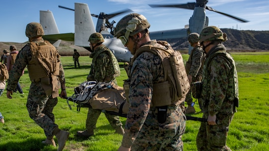 U.S. Marines and Sailors assigned to 1st Marine Logistics Group and Japan Ground Self-Defense Force Soldiers with 1st Amphibious Rapid Development Regiment, Move simulated casualties to a MV-22B Osprey tiltrotor aircraft for medical evacuation training during Iron Fist,