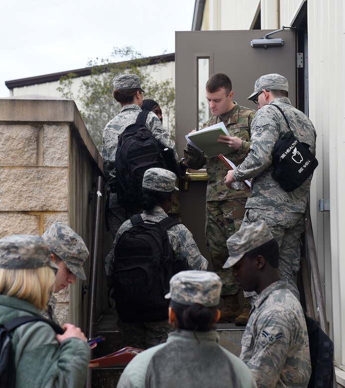 Airmen are in-processed for a pre-deployment function line exercise Jan. 23, 2019, at Joint Base Charleston, S.C.