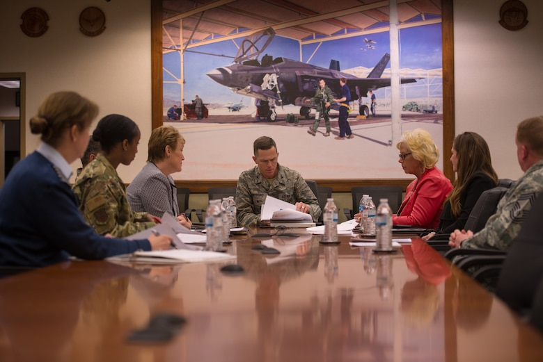 Col. Russell Williford, director of revitalizing squadrons task force, meets with his staff and members of the 56th Fighter Wing at Luke Air Force Base, Ariz., Jan. 17, 2019. The task force, in conjunction with a Royal Canadian Air Force (RCAF) Family Advocate representative, visited Luke to promote practices and identify improvements which need to be made in achieving squadron revitalization initiatives. (U.S. Air Force photo by Senior Airman Caleb Worpel)