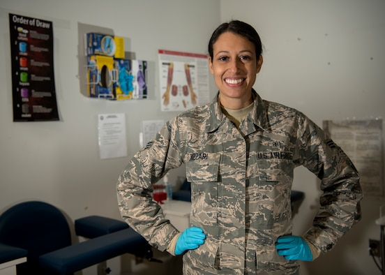 Senior Airman Daniela Rizzari, 104th Medical Group aerospace medical technician, poses for a photo Jan. 18, 2019. Rizzari received the 104th Fighter Wing Technician of the Year award in recognition of her outstanding efforts to improve mission readiness at the wing. (U.S. Air National Guard photo by Airman 1st Class Randy Burlingame)