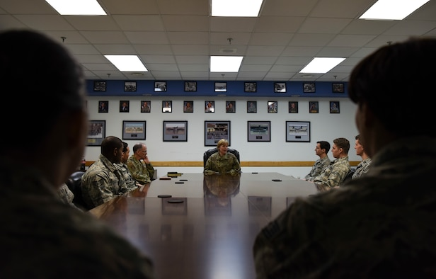 U.S. Air Force Brig. Gen. (Dr.) Sharon Bannister, Defense Health Agency education and training deputy assistant director and Assistant Surgeon General for Dental Services, speaks to Airmen from the 8th Medical Group Dental Clinic during her visit to Kunsan Air Base, Republic of Korea, Jan. 23, 2019. Gen. Bannister toured the 8th MDG sharing her priorities and learning how the Wolf Pack ensures force readiness. (U.S. Air Force Photo by Senior Airman Savannah Waters)